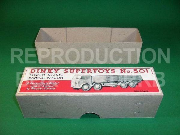 Dinky #501 Foden (1st cab) High Side - Reproduction Box ( RED LABEL )